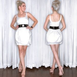 White Satin Bridal Party Dress